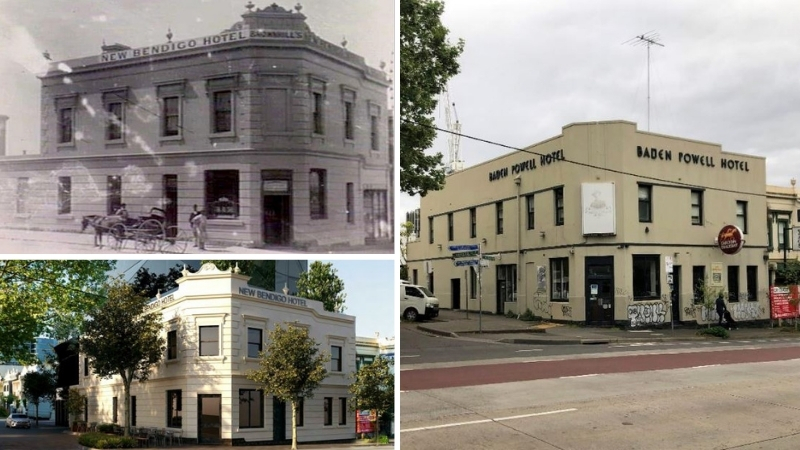 The original New Bendigo Hotel in 1890, the Baden Powell Hotel in its current art deco state pictured in 2020 and the proposed redevelopment.