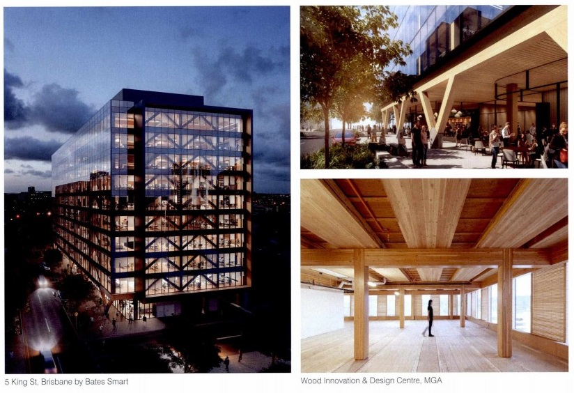 """Taking design cues from sites such as Brisbane's 5 King St by Bates Smart, Architectus incorporate CLT in the proposal. """"Exposed timber construction has the capacity to offer a structural and material honesty while also attending to the principles of good biophilic design."""""""