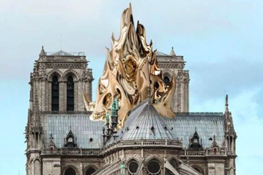 Designer Mathieu Lehanneur unveiled his plan for a new spire for the cathedral: a gleaming, 300-foot flame, made of carbon fiber and covered in gold leaf, that would be a permanent reminder of the tragedy.