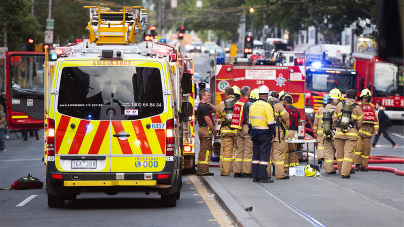 ▲ Extra fire fighters were deployed to Melbourne's Neo200 blaze because of the use of cladding. Image: AAP