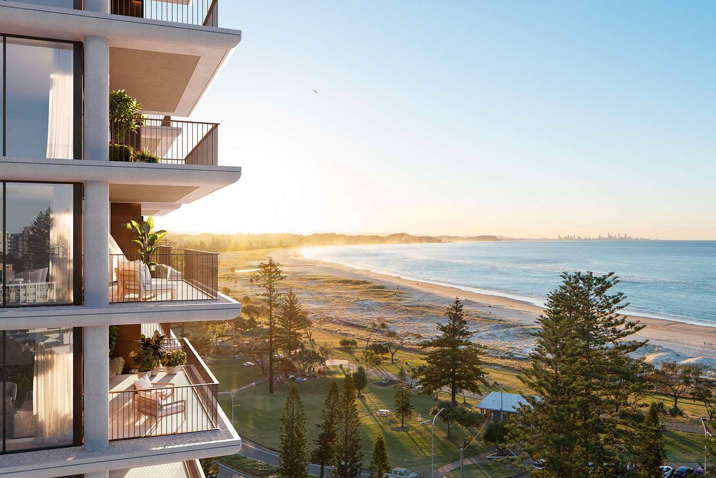 ▲ Artist impression of Emerson, the developer's 13-storey tower planned for Kirra's 100 Musgrave Street. Image: Rothelowman