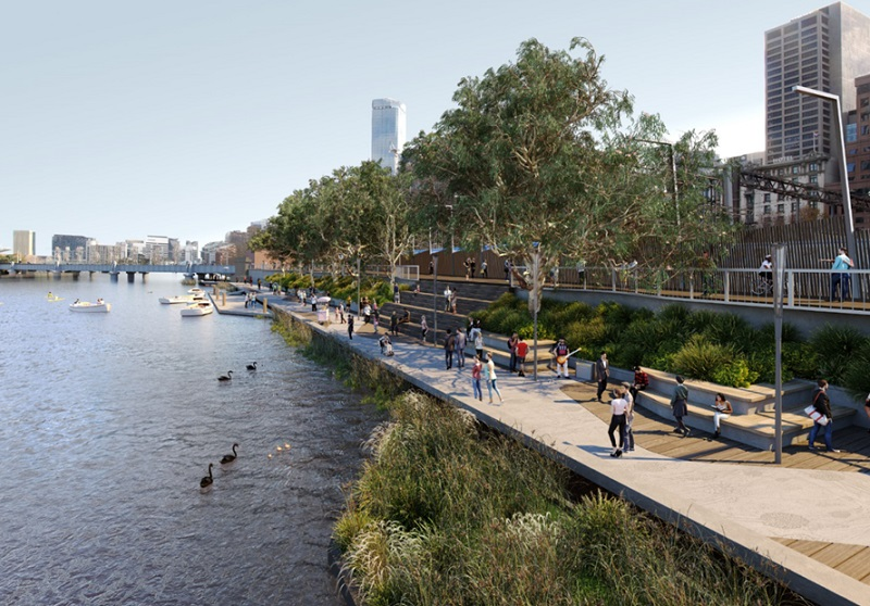 A new design for Flinders walk in Melbourne along the Yarra River, shows multiple paths, seating and wide walkways.