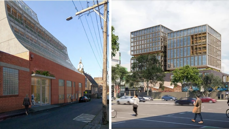 ▲ Two vastly different offices are planned for Collingwood including one designed by Kerstin Thompson Architects and the other by Grimshaw Architects.