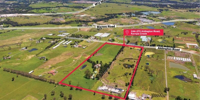 ▲ A 20-hectare land parcel at 244-270 Aldington Road in Kemps Creek, located within the Mamre Road Precinct in Western Sydney.
