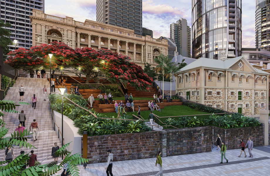 Artist rendering of a public park within the Queen's Wharf redevelopment.