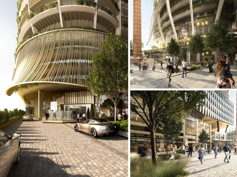 A composite image depicting the entrance to a tower as well as walking space between hotels and leafy apartment buildings.