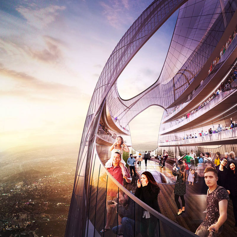 The tower's top will feature one of the world's highest observation experiences and additional club facilities that include a restaurant, a night club, spa services, and a grand swimming pool.