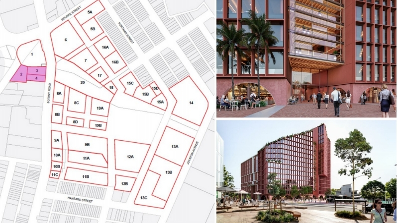 Three images of the Green Square Town Centre lots, in pink is Toga's office building and close-up images of the red tower and the timber heart.