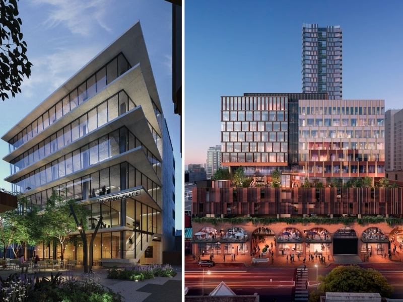 Two renders side by side a six storey office building called Penny Place and a large mixed-use development called central market arcade in Adelaide.