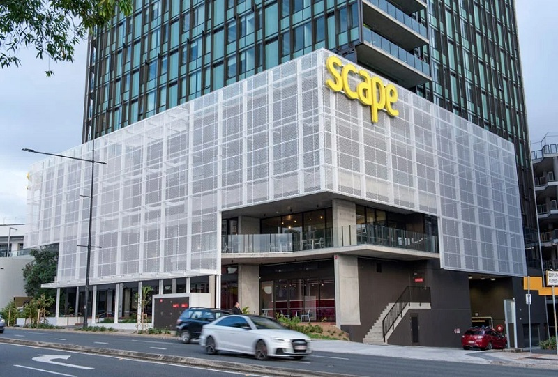 The front of the Scape student accommodation tower in Toowong.