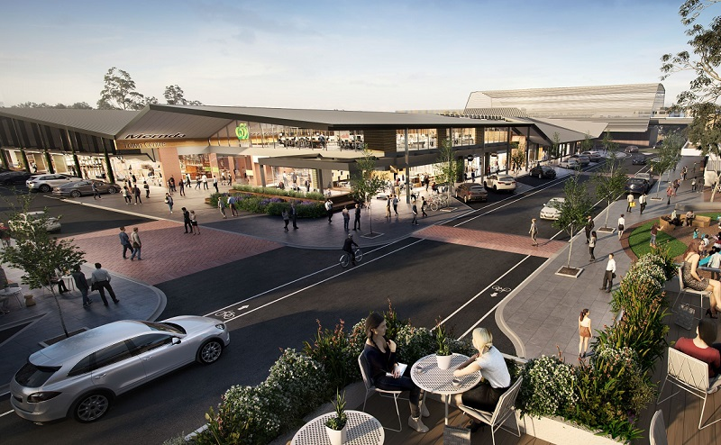 A render of the Mernda Shopping Centre which will have pitched roof, modern lines and Woolworths as an anchor tenant.