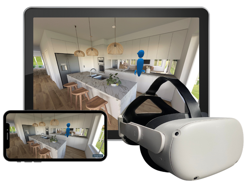 ▲ Buyers can explore your design using a wireless VR headset, tablet or smart phone, through the EnvisionVR app.