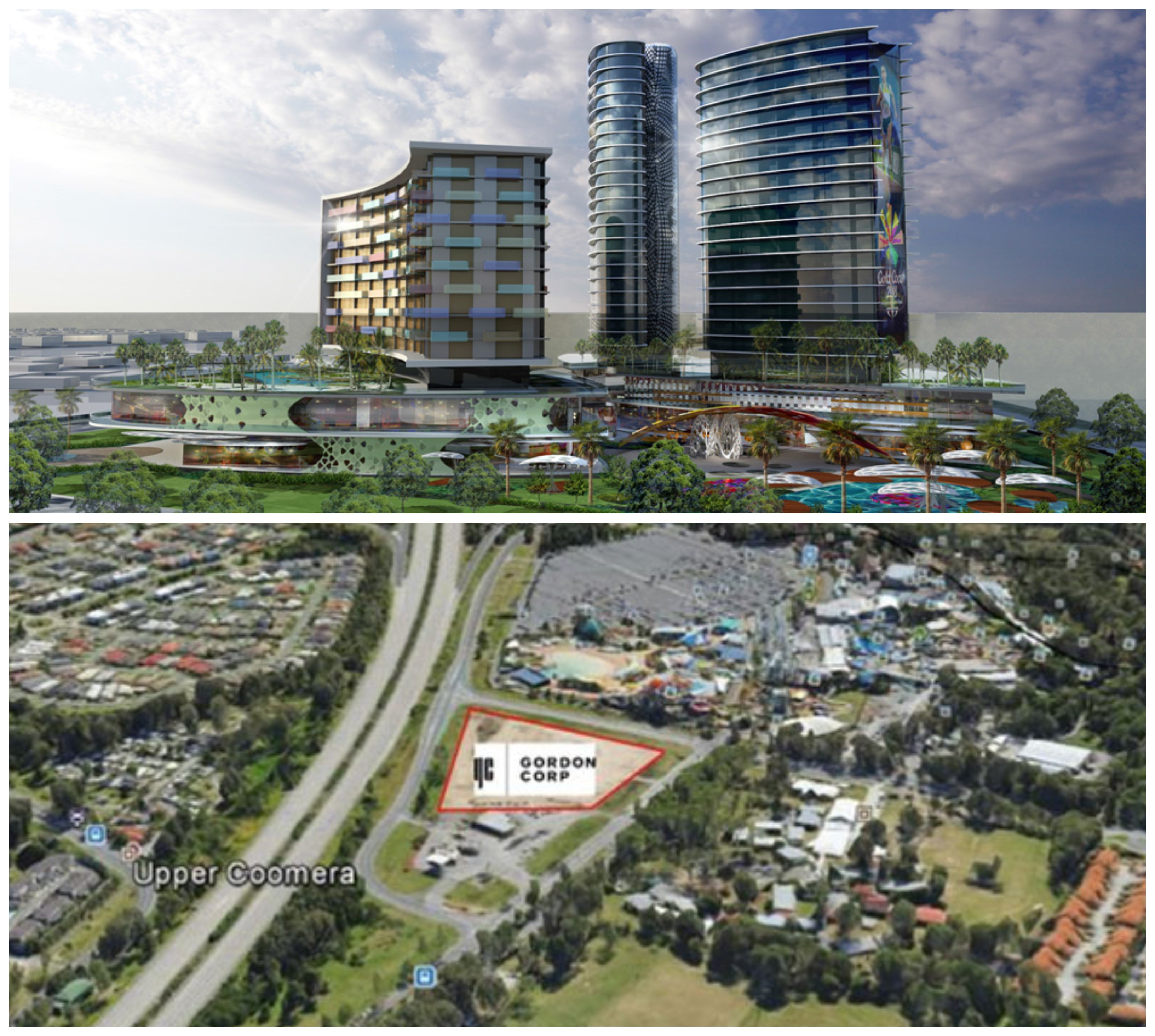 ▲ Gordon Corp have plans for a mixed use residential and resort development near Dreamworld on the Gold Coast. Image: Gordon Corp.