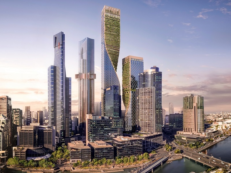 What Melbourne's future skyline will look like with the twisting green spine Southbank by Beulah towers featured between many skyscrapers along the Yarra River.
