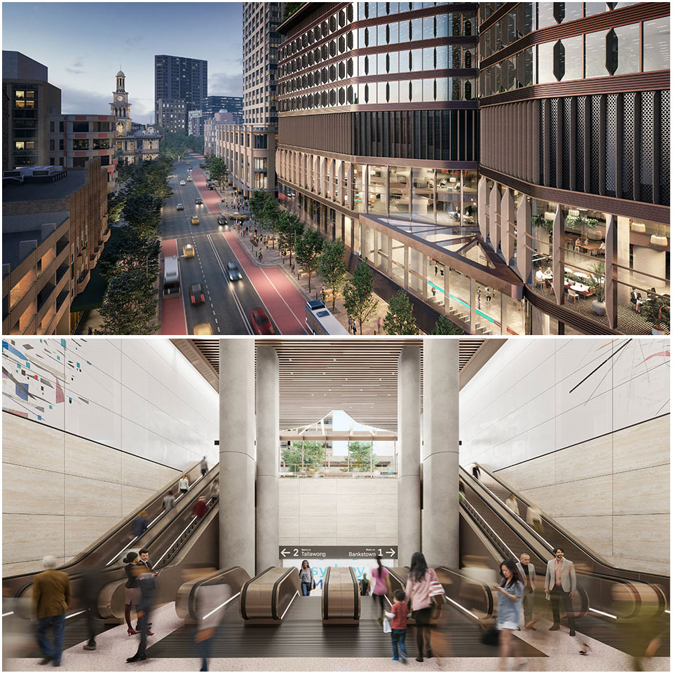 A 250-metre-long underground Pitt Street Station will run from Park Street to Bathurst St, between Pitt and Castlereagh Streets, connecting the two station entries with retail and other commercial facilities.