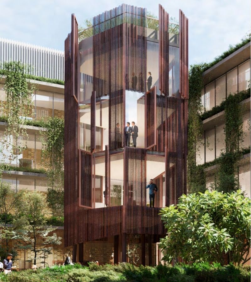 """▲ Bourke & Bowden's innovative workplace design includes an """"architectural treehouse"""" of collaboration spaces in its central courtyard."""